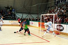 Caldirolli goal. The gol of fabricio caldirolli in the professional futsal match feldi eboli vs acqua & sapone Stock Photos