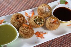 Gol gappa, Pani Puri, Crispy shells stuffed with potatoes. stock image