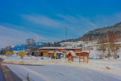 GOL, NORWAR, APRIL, 02, 2018: Beautiful outdoor view of buildings in dowtown covered with snow after snowstorm in GOL. Norway Stock Photos