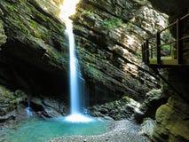 Gola della cascata di Thur con il passaggio pedonale Fotografia Stock Libera da Diritti