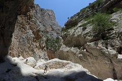 Gola Di Gorropu Trekking Στοκ Εικόνες