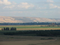 The Golan. A view of the golan hights from Kiryat Shmona stock photography