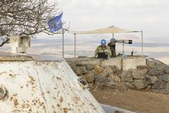 Golan Heights, Israel, el 22 de diciembre de 2016: La fuerza de paz de la O.N.U Imagen de archivo libre de regalías
