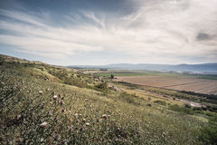 Golan Heights landscape Israel. View over Fields and Meadows at Golan Heights Israel Royalty Free Stock Photo