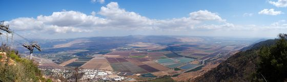 Golan heights rural landscape panorama. Israel landscape panorama , scenic view on golan heights near Syria border Stock Image