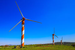 Golan Heights and several  windmills Royalty Free Stock Photo