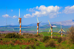 The Golan heights and some windmills Stock Photos