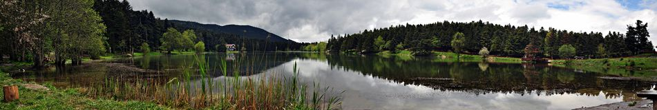 Golcuk Lake in Bolu, Turkey. Golcuk Lake natural park with beautiful reflection in Bolu, Turkey Royalty Free Stock Photo