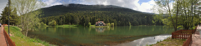 Golcuk Lake in Bolu, Turkey. Golcuk Lake natural park with beautiful reflection in Bolu, Turkey Royalty Free Stock Images