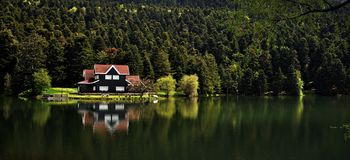 Golcuk Lake in Bolu, Turkey. Golcuk Lake natural park with beautiful reflection in Bolu, Turkey Stock Images