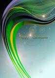 GoldÂ波浪线、雪花和火光在蓝色圣诞节背景 免版税库存图片