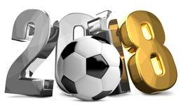 Goldübertragen silberner Fußball-Fußballball 2018 3d Lizenzfreies Stockbild
