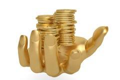 Gold übergibt das Halten Goldmünzen auf einem weißen Hintergrund, 3D I halten Lizenzfreie Stockbilder