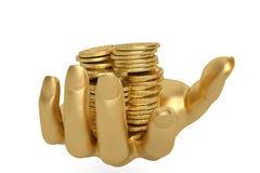 Gold übergibt das Halten Goldmünzen auf einem weißen Hintergrund, 3D I halten Lizenzfreie Stockfotografie