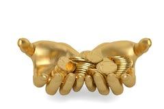 Gold übergibt das Halten Goldmünzen auf einem weißen Hintergrund, 3D I halten Lizenzfreies Stockbild