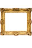 Gold überzogener hölzerner Bilderrahmen mit dem Pfad (Kubik) Lizenzfreie Stockfotos