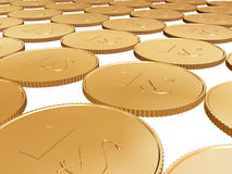 Gold 1$ coin carpet on white Stock Image