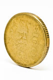 Gold $100 Mexican Peso Coin. Heavily worn gold $100 Mexican Peso gold coin featuring Venustiano Carranza Stock Images