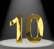 Gold 10th 3d Number Closeup. Showing Anniversary Or Birthday Royalty Free Stock Photos