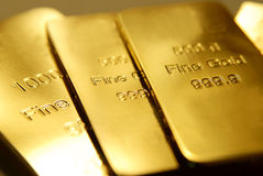 Gold. Bars are isolated on background Stock Images