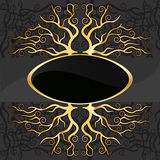 Gold. En tree deluxe logo sign on a dark background Royalty Free Stock Image