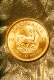 Gold 1978 Krugerrand. Gold Coin, 1978 Krugerrand on Gold Background Stock Photography