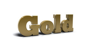 Gold. Word gold in 3d, with metallic look Stock Photos