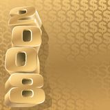 Gold 2008 dollar. Gold 2008 and gold dollar background, vector Royalty Free Stock Photography