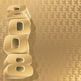 Gold 2008 pound. Number 2008 and gold pound background, vector Royalty Free Stock Photo