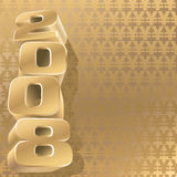 Gold 2008 yen. Number 2008 and gold yen background, vector Royalty Free Stock Images
