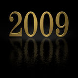 Gold 2009. Gold 3D 2009 with reflections - happy new year Stock Illustration