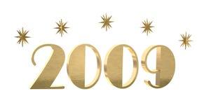 Gold 2009 mit Sternen Stockfotos