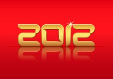 Gold 2012 year with reflection. On red background, illustration Royalty Free Illustration