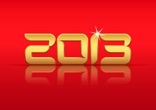 Gold 2013 year with reflection. On red background, vector illustration eps10 Stock Images