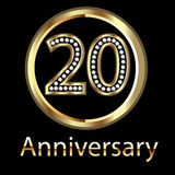 Gold 20th anniversary birthday. 20th anniversary birthday in gold vector Royalty Free Stock Image
