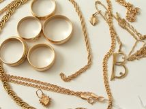 Gold. Jewels: rings, chains. isolated Royalty Free Stock Photo