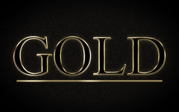 Gold. Shiy gold text on black background Stock Photography