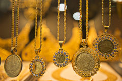 Gold. Ottoman-style, beatiful  gold necklaces Royalty Free Stock Photo
