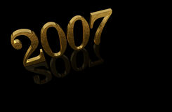 Gold 3D 2007 with reflections. 3D 2007 with reflections - happy new year Stock Photography