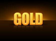 Gold 3D. 3D gold written in gold standing on a table Stock Photo