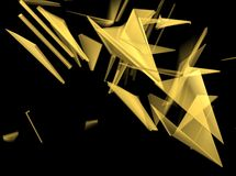 Gold 3D Abstract Background. 3D rendering. Abstract background in gold  colors with a glass effect Royalty Free Stock Photo