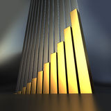 Gold 3D business growth chart. 3D Business chart in a golden texture Stock Image