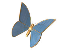 The gold 3d butterfly from blue chromeplated metal Stock Photo