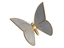 The gold 3d butterfly from chromeplated metal Royalty Free Stock Photo