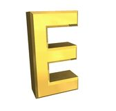 Gold 3d letter E Stock Photo
