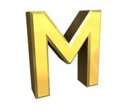 Gold 3d letter M Royalty Free Stock Image