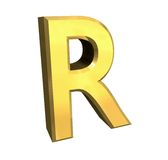 Gold 3d letter R Royalty Free Stock Image