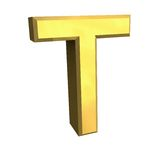 Gold 3d letter T Stock Photography