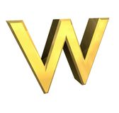 Gold 3d letter W Royalty Free Stock Images