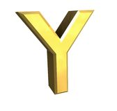 Gold 3d letter Y Royalty Free Stock Image